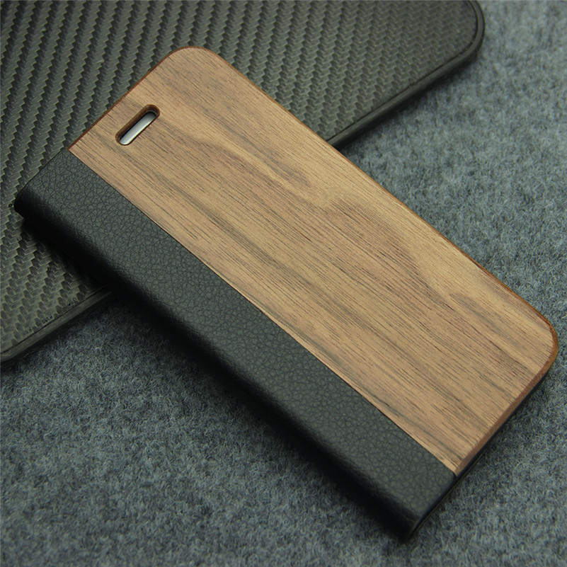 Leather Flip Case for <font><b>iPhone</b></font> 7 8 Wallet Coque Natural Hardmade Wooden Protective Phone Bag Cover for Apple iPhone7 4.7 inch