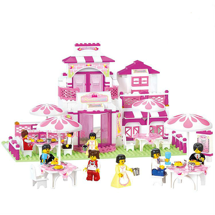Sluban Pink Dream Series Romantic Restaurant Pink House Dream Restaurant Building Block Sets Model  Toys Compatible With Lego sluban pink dream girls