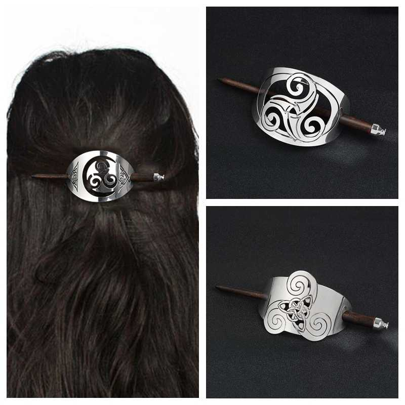 QIHE JEWELRY Viking Hair sticks Hair pins Silver Knot Hair Slide With Wood Sticks Hair jewelry for men women unisex