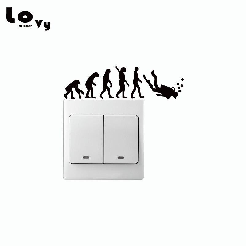 Evolution To Dive Vinyl Light Switch Sticker Creative Silhouette Vinyl Wall Sticker Home Decor   SW0055