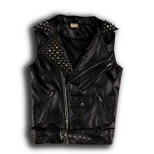 Punk Mens Leather Vest Coats Metal Decor Rivet Slim Lapel Shiny Studded B39 недорого
