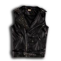 Punk Mens Leather Vest Coats Metal Decor Rivet Slim Lapel Shiny Studded B39