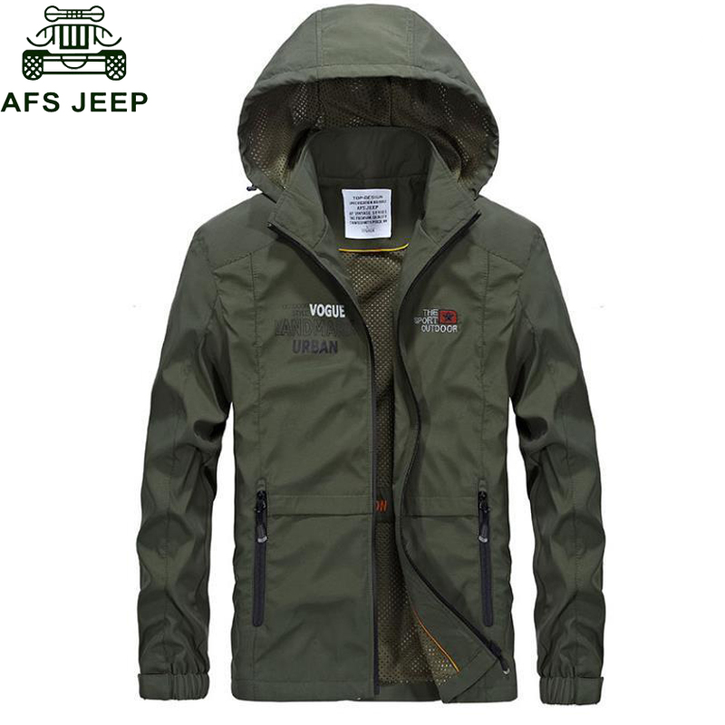 Afs Jeep Mens Spring Autumn Jacket 2018 Casual Hooded Collar Thin Mens Bomber Jackets Zipper Pockets Plus Size M-3XL veste homme