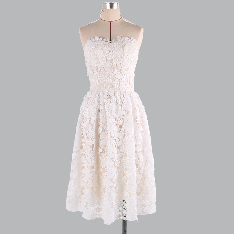 Sexy Sweetheart   Bridesmaid     Dresses   Sleeveless Mini vestido madrinha 00800 Elegant Short White Lace Wedding Party   Dress   For Woman