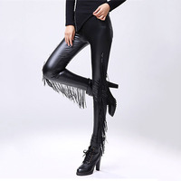 Fasbys Punk Style Personality High Waist Tassel Decoration Black Faux Leather High Waist Legging 2017 Autumn