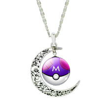 Pokeball Moon Shaped Chain Neclace for Women