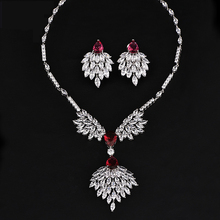 Bridal Jewellery Set Cubic Zirconia Rhinestone Necklace Long Earrings Statement Wedding Crystal Bridal Jewlery Set