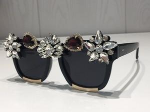 Image 3 - Custom made kryształowe luksusowe okulary przeciwsłoneczne damskie Bling Rhinestone Oversize kwadratowe markowe okulary przeciwsłoneczne okulary Vintage odcienie damskie