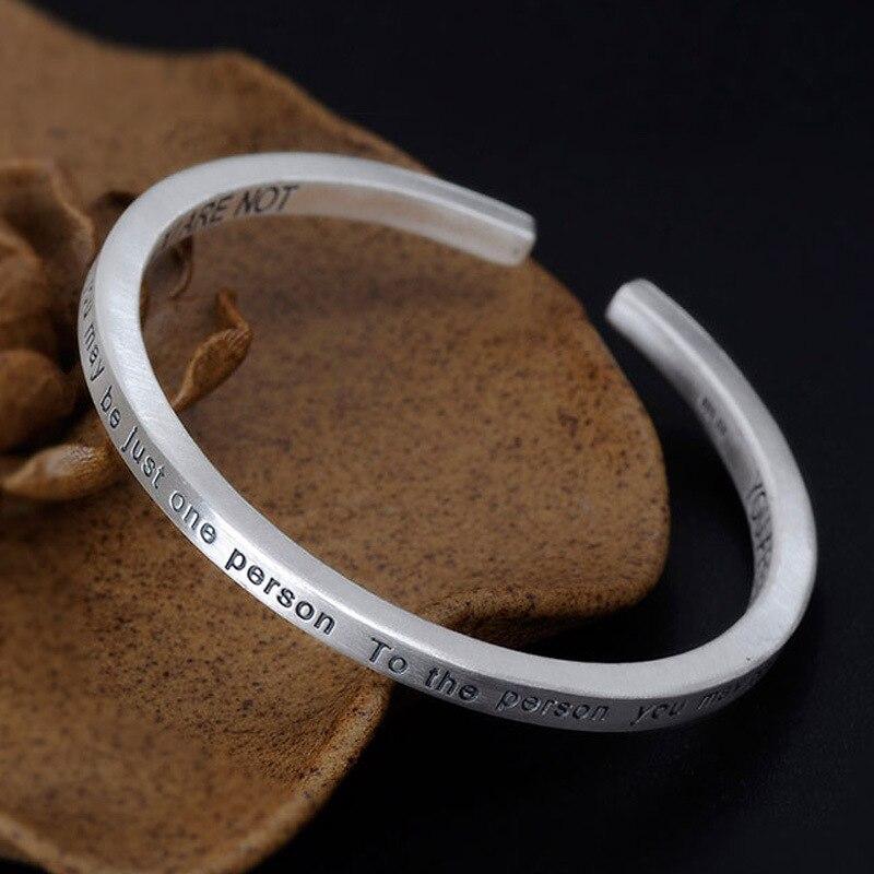 999 Sterling Silver Cuff Bangle Bracelet Japanese Korean Square English Letter Love Bracelet Lady's Silver Bracelet Jewelry. все цены
