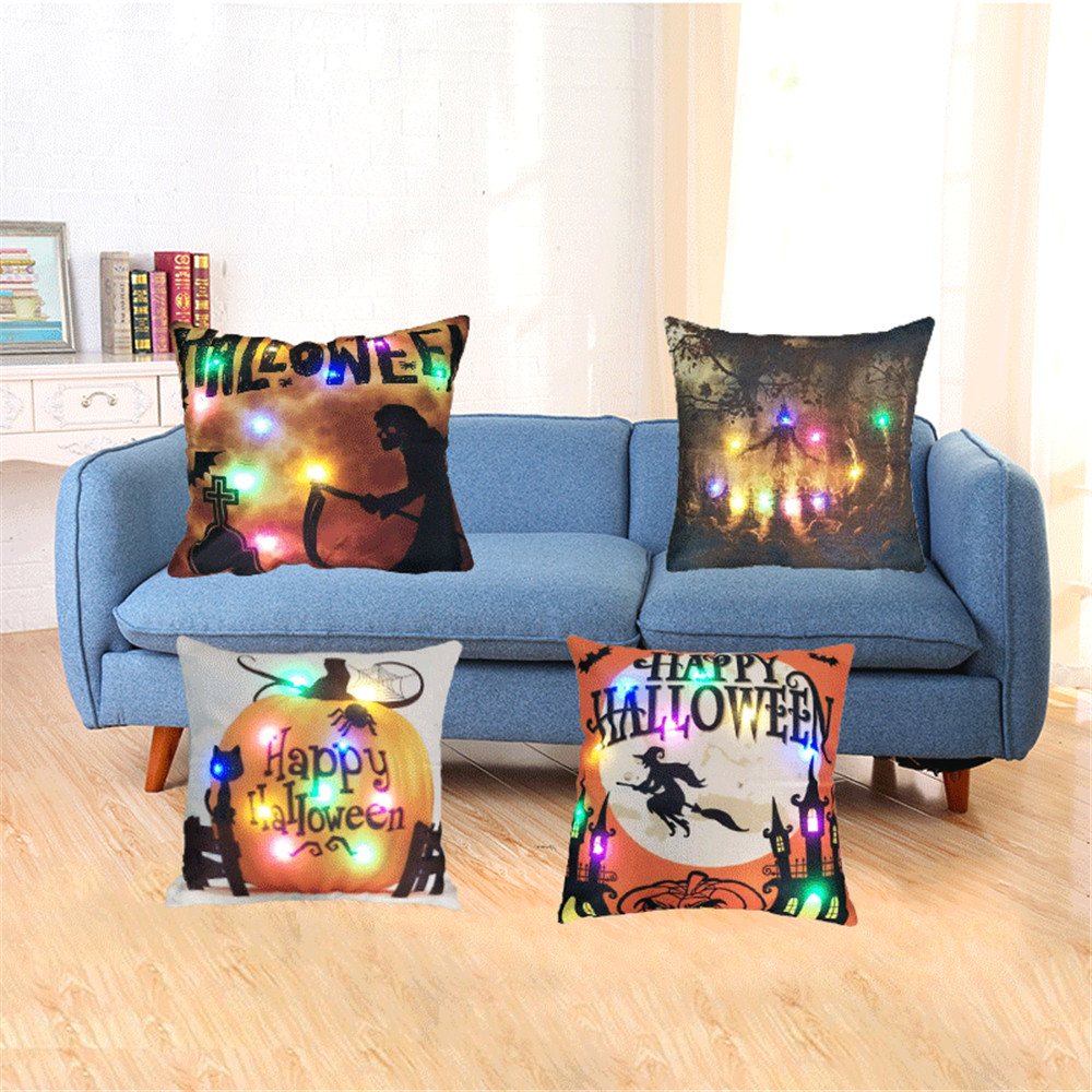 Brilliant Us 6 83 28 Off Halloween 45 45 Pillow Case Decorative Throw Pillow Case Cover Pumpkin Spice Led Color Light Cushion Covers For Sofa Chair Couch In Uwap Interior Chair Design Uwaporg