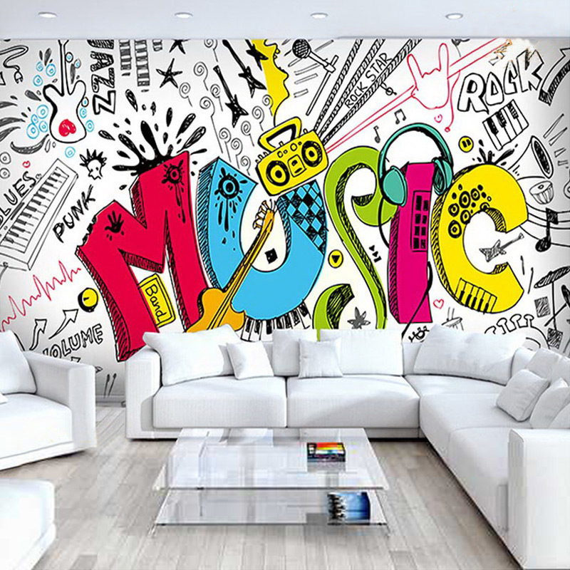 Cartoon-style Music-related Wall Mural Custom Photo Wallpaper For Kid's Room Sofa TV Backdrop Home Improvement Mural Wall Paper