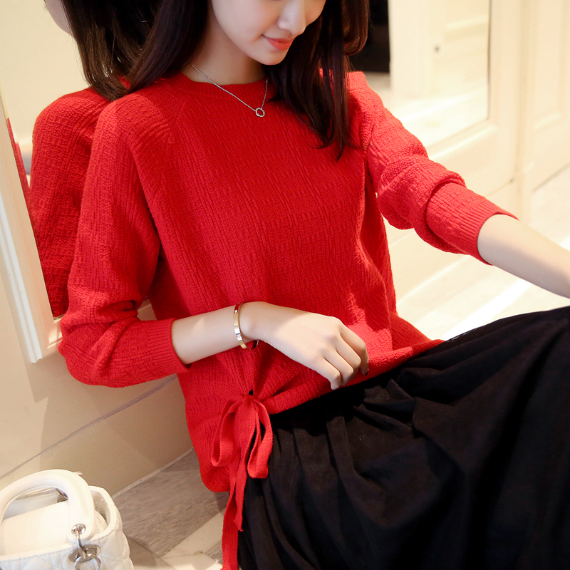 40 nuevas mujeres de Corea bajo de Tiras de algodón de Cuello Redondo suéter de
