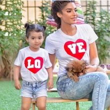 LOVE mother daughter tshirt mommy and me clothes family matching outfits look mom T shirts dress clothing