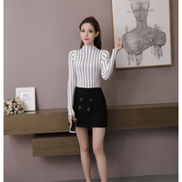 All High Necked Long Sleeved Cotton Striped Knitted Sets Of Women S Sweater 2018 Korean Slim