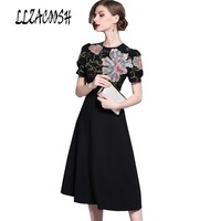 Vintage Style Floral Embroidery Dress 2018 High quality Womens Summer Dress O Neck Short Sleeve Casual Work Office OL Dress