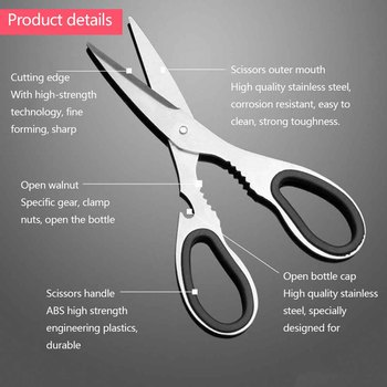 Scissors Stainless Steel Shears Tool for Chicken Poultry Fish Meat Vegetables Herbs BBQ high quality mainpoint poultry fish chicken bone duck scissors stainless steel multifunctional kitchen gadget shears cutter cook hand tools