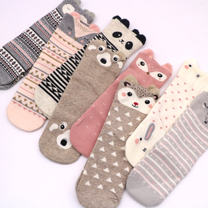 Image 4 - 2Pair Cotton Women Socks 3D Cartoon Chrismas Sock Funny Colorful Pattern Winter Fashion Female Socks Striped Warm Sock Animal