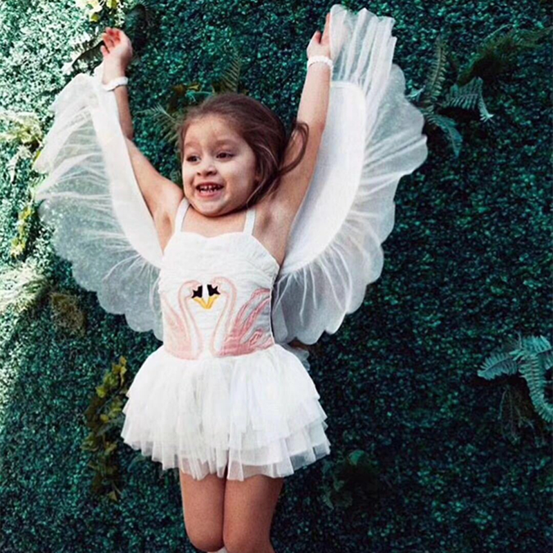 2-10Y Baby Girls Dresses Summer Kids Dresses For Girls Clothing Swan Wings Children Costume 2018 Cartoon Kids Vest Sling Dress