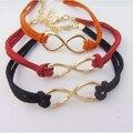 MWSONYA Women Lucky 8 Pendant Bracet Leather Rope Bracelets 4K4027