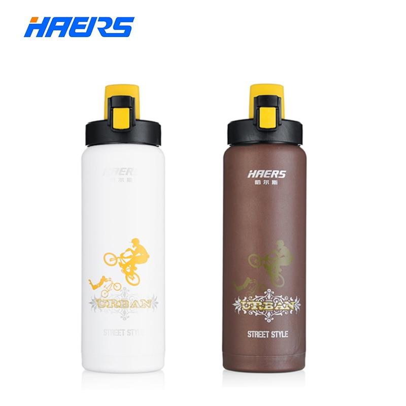 Haers 600 ml deportes botella de agua de acero inoxidable con aislamiento 6-12 h