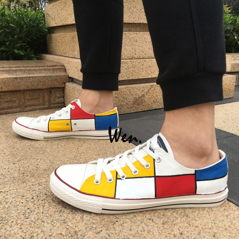 Wen Design Custom Hand Painted Shoes Mondrian Men Women s Gifts Low Top  Canvas Sneakers wen hot 590f437178ee