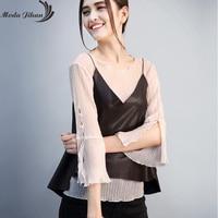 Moda Jihan New PU Leather Tank Tops Women Black Camisole Vest Short Ladies V Neck Slim Sexy Loose Style Camis Tops