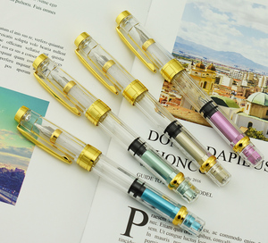 Image 5 - Набор прозрачных перьевых ручек Wing Sung 3008 Piston, EF/F Серебристые/GoldenTrim чернила, подарочная ручка для офиса, бизнеса, школы, 4 шт.