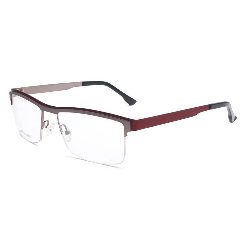 Handoer H7064 Optical Glasses Frame for Eyewear Half Rim Stainless Steel Spectacles Glasses Optical Prescription Frame Women in Men 39 s Eyewear Frames from Apparel Accessories