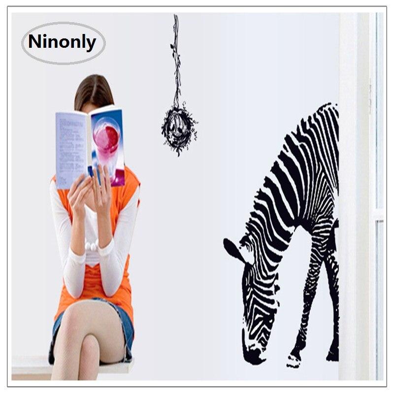 Walls Stickers zebra Poster Bathroom Toilet Living Room refrigerator Decoration Animal Pet Art Kitchen Classroom DIY Cartoon