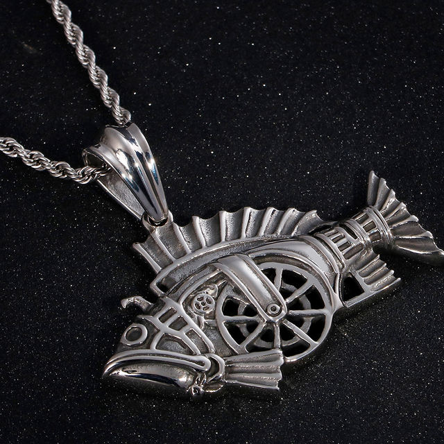 STAINLESS STEEL SKULL FISH SKELETON NECKLACE