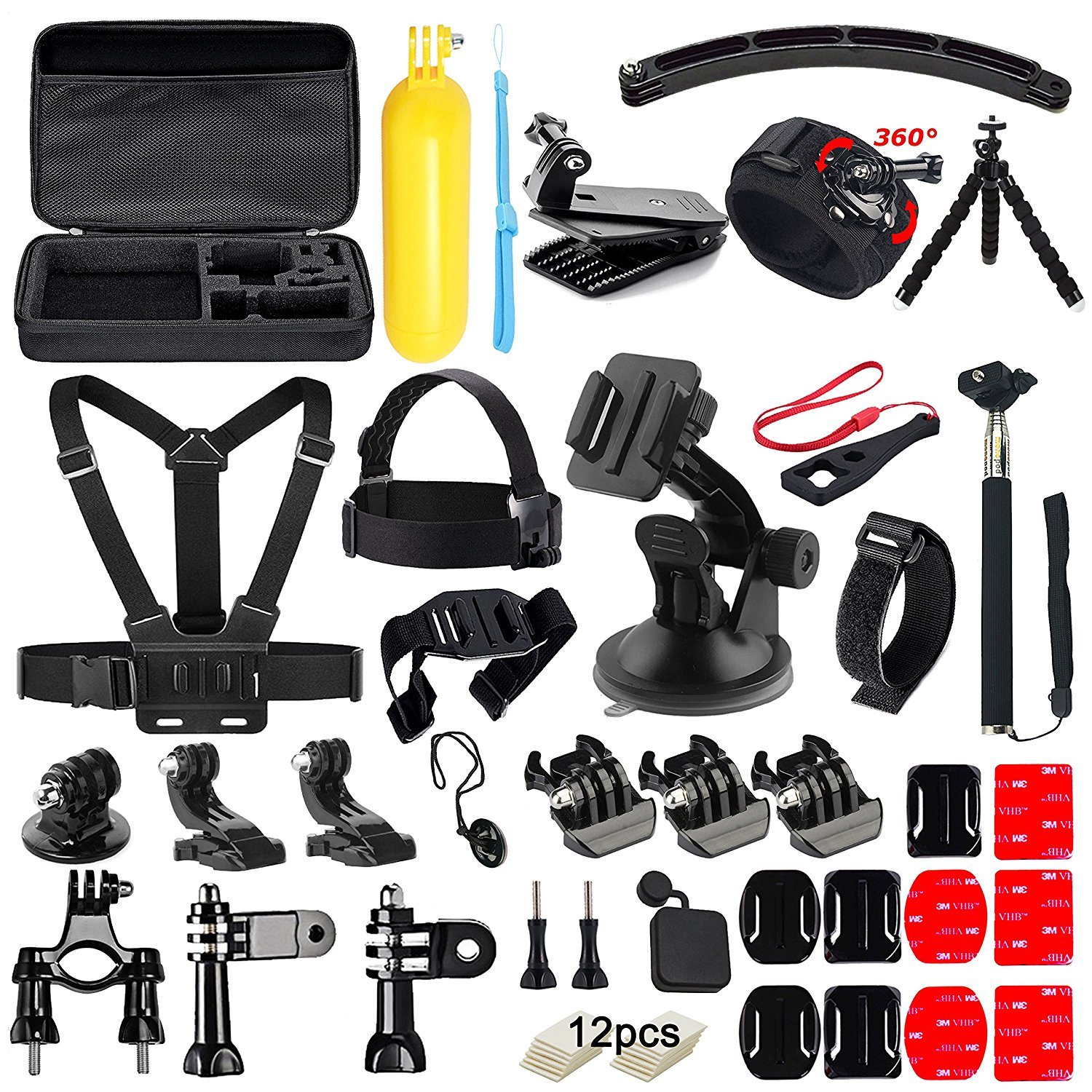 Galleria fotografica FeoconT 50 in1 Action Camera Accessories Kit for GoPro Hero 5 4 3+ 3 2 1 with Carrying Case/Chest Strap/Octopus Tripod