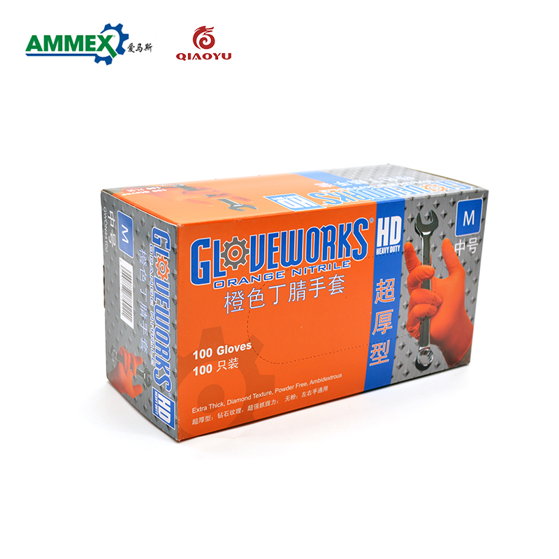 AMMEX Disposable Orange Thick Nitrile Gloves(Powder Free) Industrial Production Mechanical Maintenance Gloves цена