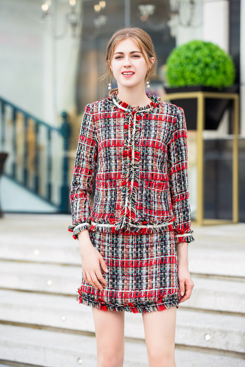 Avec Automne Ensemble Plaid Veste Vêtements Haute Laine De Gland Pièce 2 Piste Qualité 2018 Tweet Jupe Femmes Hiver IxE7wvR4Eq