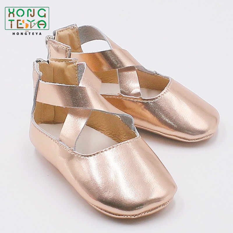 New Rose Gold Baby Girls Princess Ballet Flats Baby Shoes Genuine Leather Solid Anti-Slip Infant Toddler Ballet Mary Jane Shoes