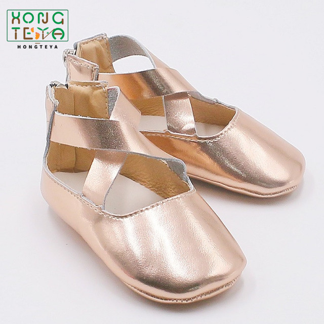 901cbd53725 New Rose Gold Baby Girls Princess Ballet Flats Baby Shoes Genuine Leather  Solid Anti-Slip Infant Toddler Ballet Mary Jane Shoes