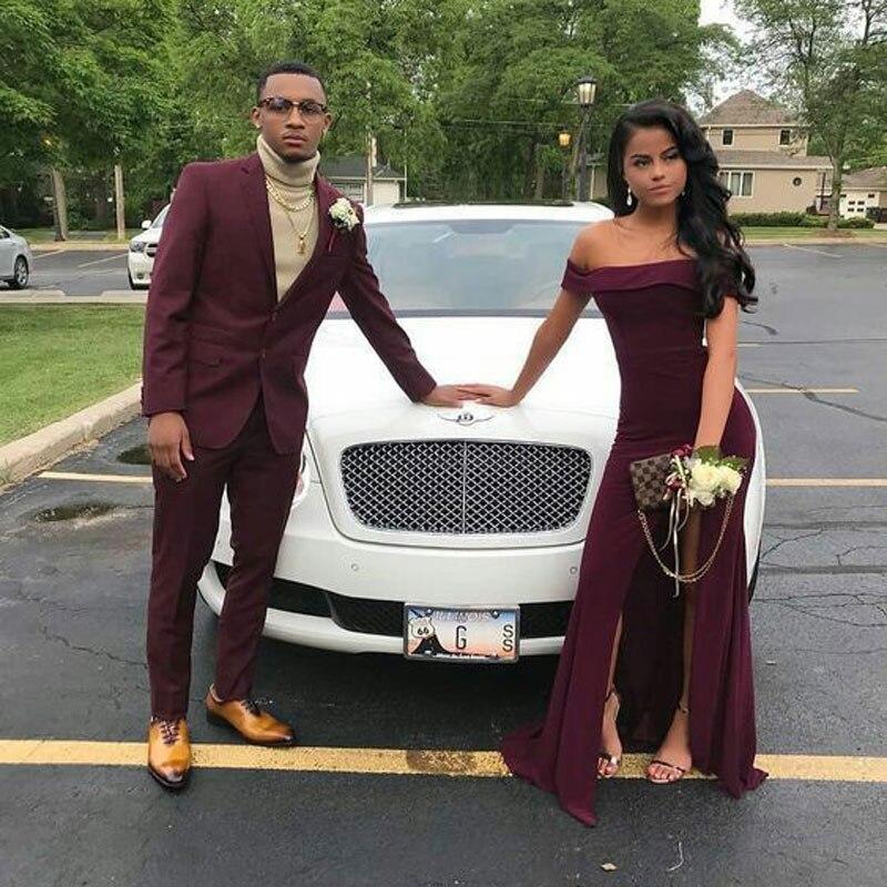 Latest Slim Fit Men Suits For Wedding Suits Man Burgundy Blazers Groom Tuxedos Prom Party 2Piece Costume Homme Trajes De Hombre