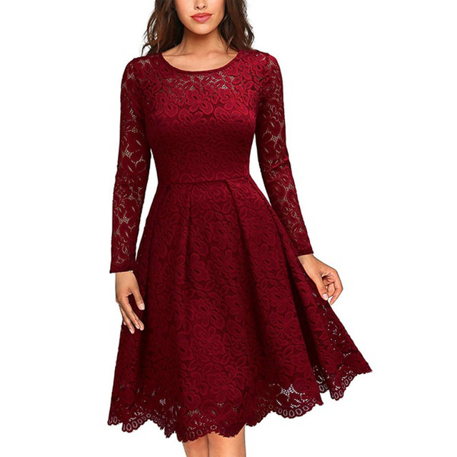 6eaf48fd29c17 Women's Vintage Long Sleeve O Neck Slim Swing A Line Dress Floral Lace  Cocktail Party Dresses