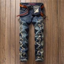 2016 Fashion Mens Ripped Jeans Distressed Patchwork Rivet Straight Denim Jeans P6032