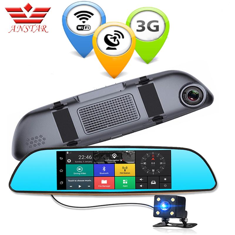 Prix pour Anstar 3g double objectif rétroviseur de voiture dvr caméra gps bluetooth miroir vidéo Enregistreur 7 pouce FHD 1080 P Auto Dvr Android 5.0 Dash Cam
