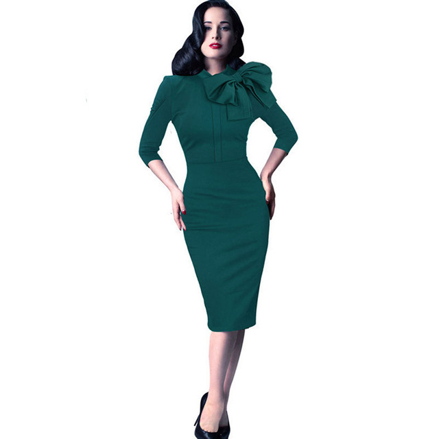 50e6d52deeb Free Shipping Half Sleeves Women O Neck Work Bandage Dress Green Color Fashion  Elegant Bodycon Dress-in Dresses from Women s Clothing on Aliexpress.com ...