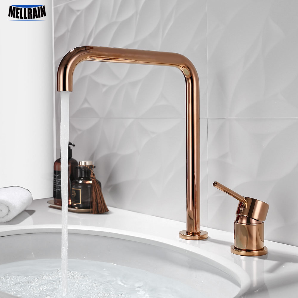 Double Holes Deck Mount Kitchen Faucet Separate Style Sink Water Tap Brass Material Bathroom Hot & Cold Water Mixer