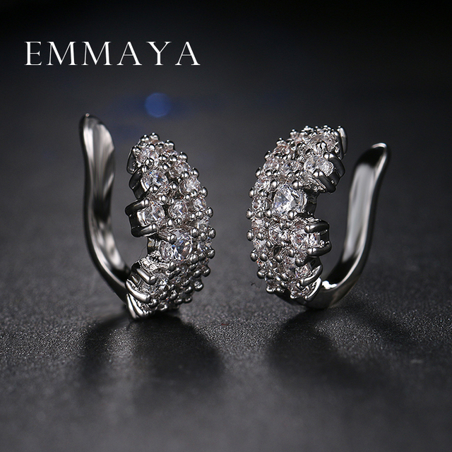 Emmaya Clip On Earrings For Women Fashion Accessories White Crystal Rhinestone Statement Jewelry