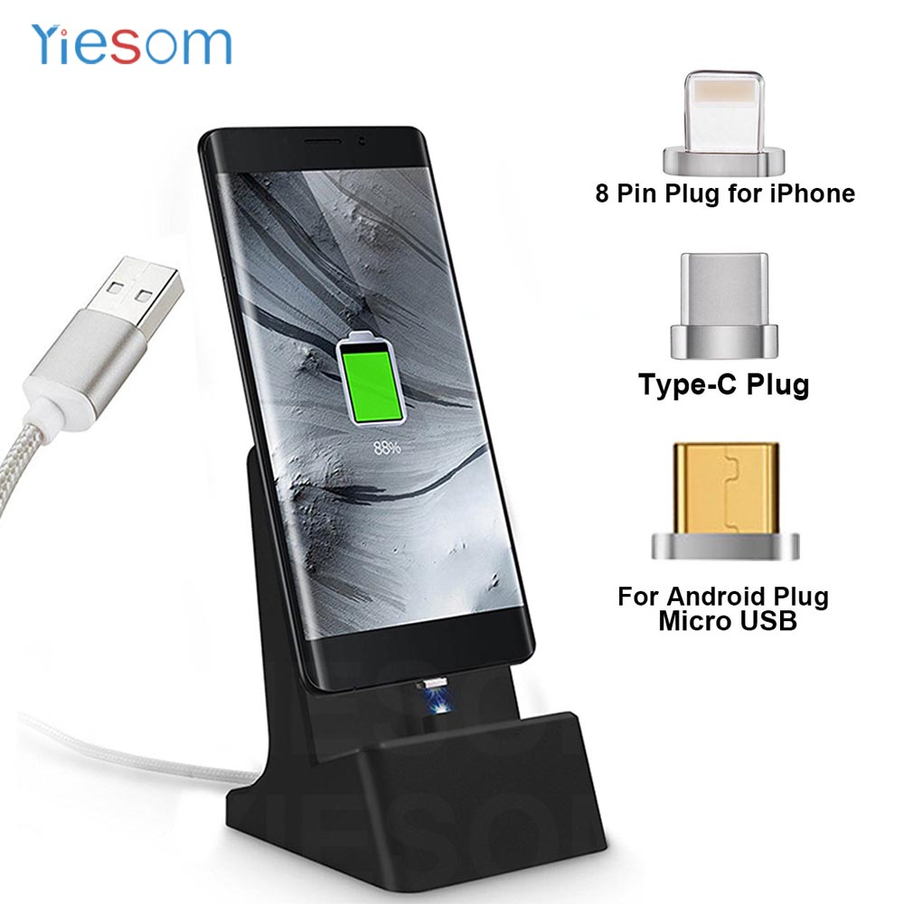 3 IN 1 Magnet Sync Dock Station Magnetic Charger USB Cable Charging Stand For iPhone X 8 7 6S 5 / Micro USB / Type C Desktop