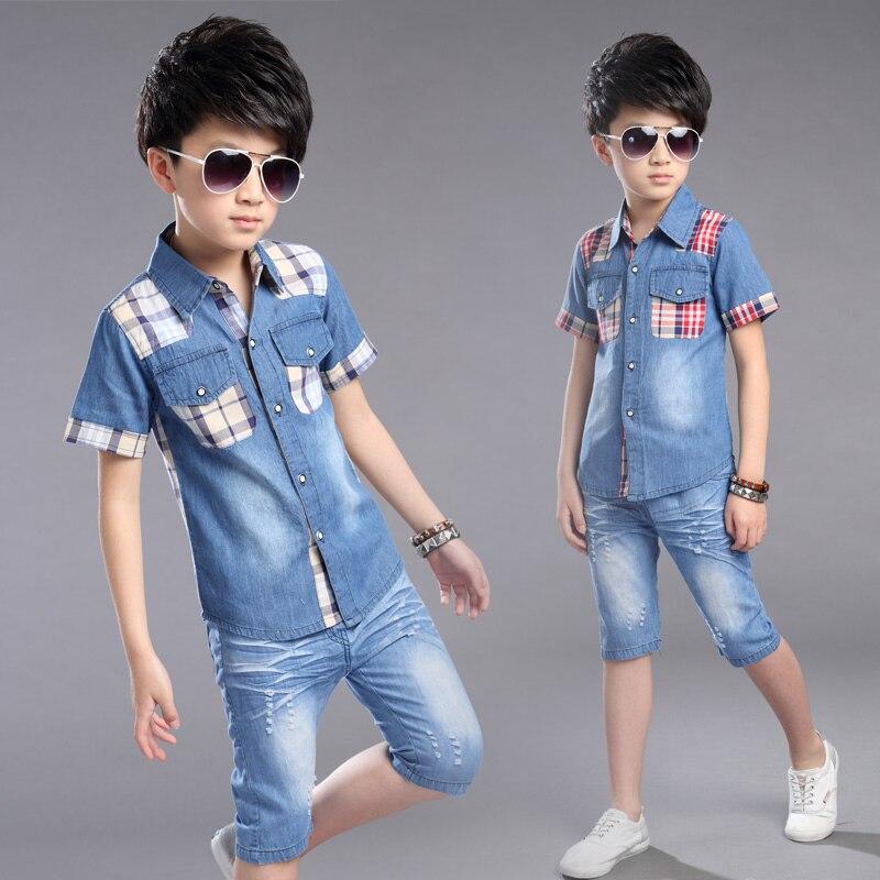 Meninos Roupas de Verão Meninos Roupas Definir Camisa + Shorts Jeans 2 pcs Roupa Dos Miúdos Definir Turn-down Collar Grande meninos Terno Ocasional