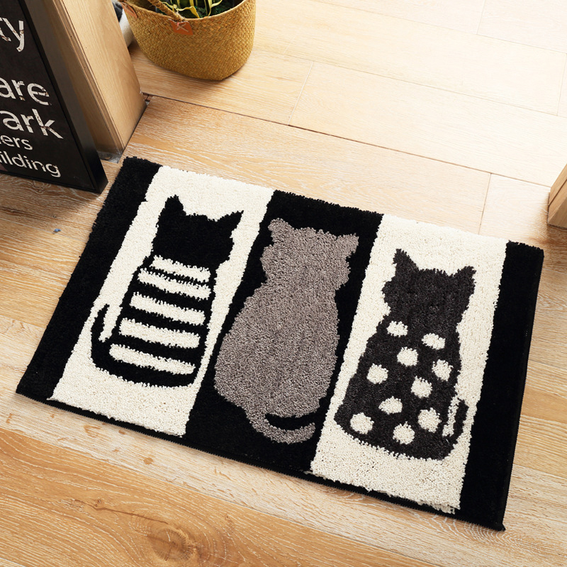 Home Cartoon Black White Cats Carpet Bedroom Living Room Rug Anti Slip Soft Rectangular Sofa