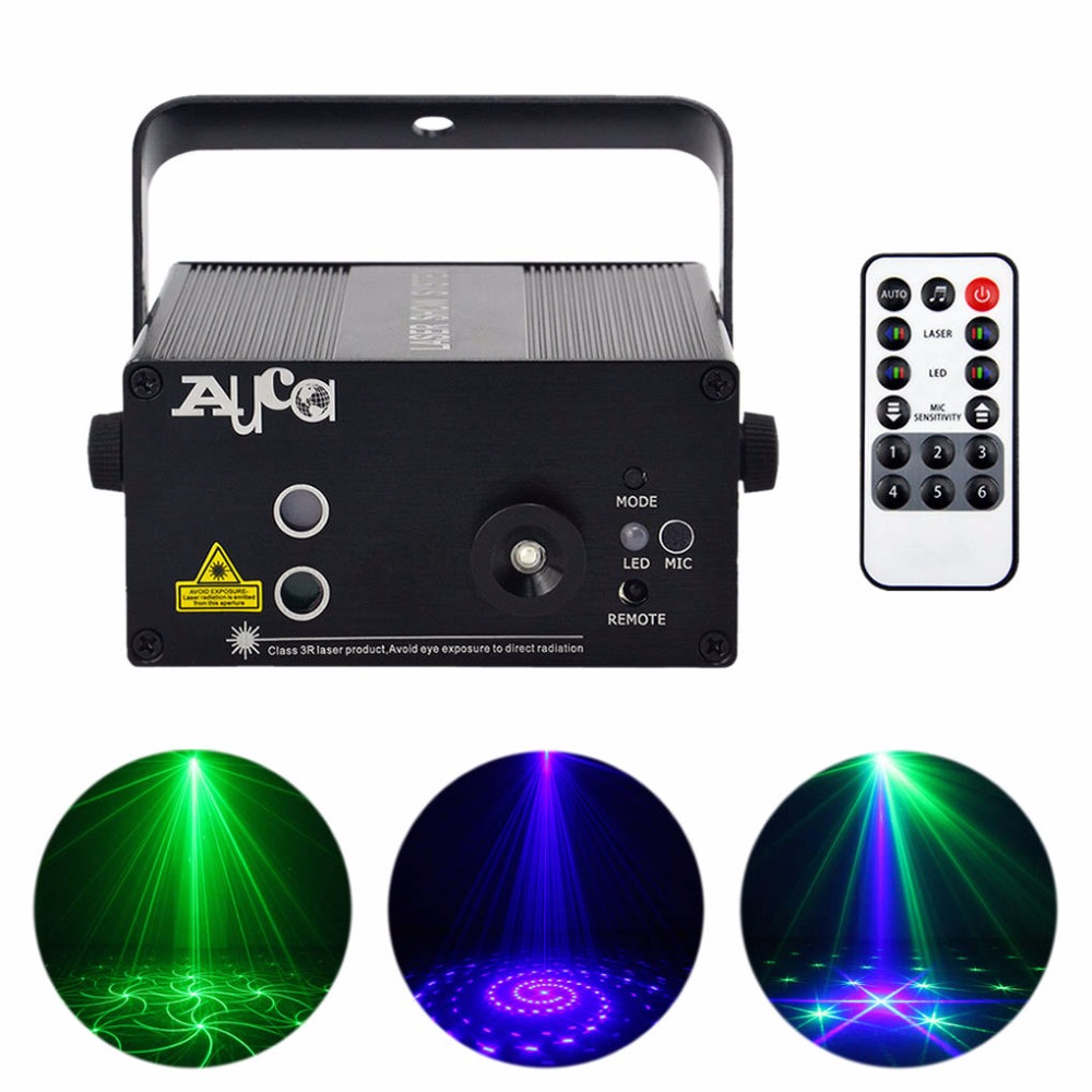AUCD Mini IR Remote 24 Pattern GB Laser Projector Light 3W Blue LED Mixing Cross Effect DJ Party Show Stage Lighting AZ24GB 3 lens 36 patterns rg blue mini led stage laser lighting professinal dj light red gree blue