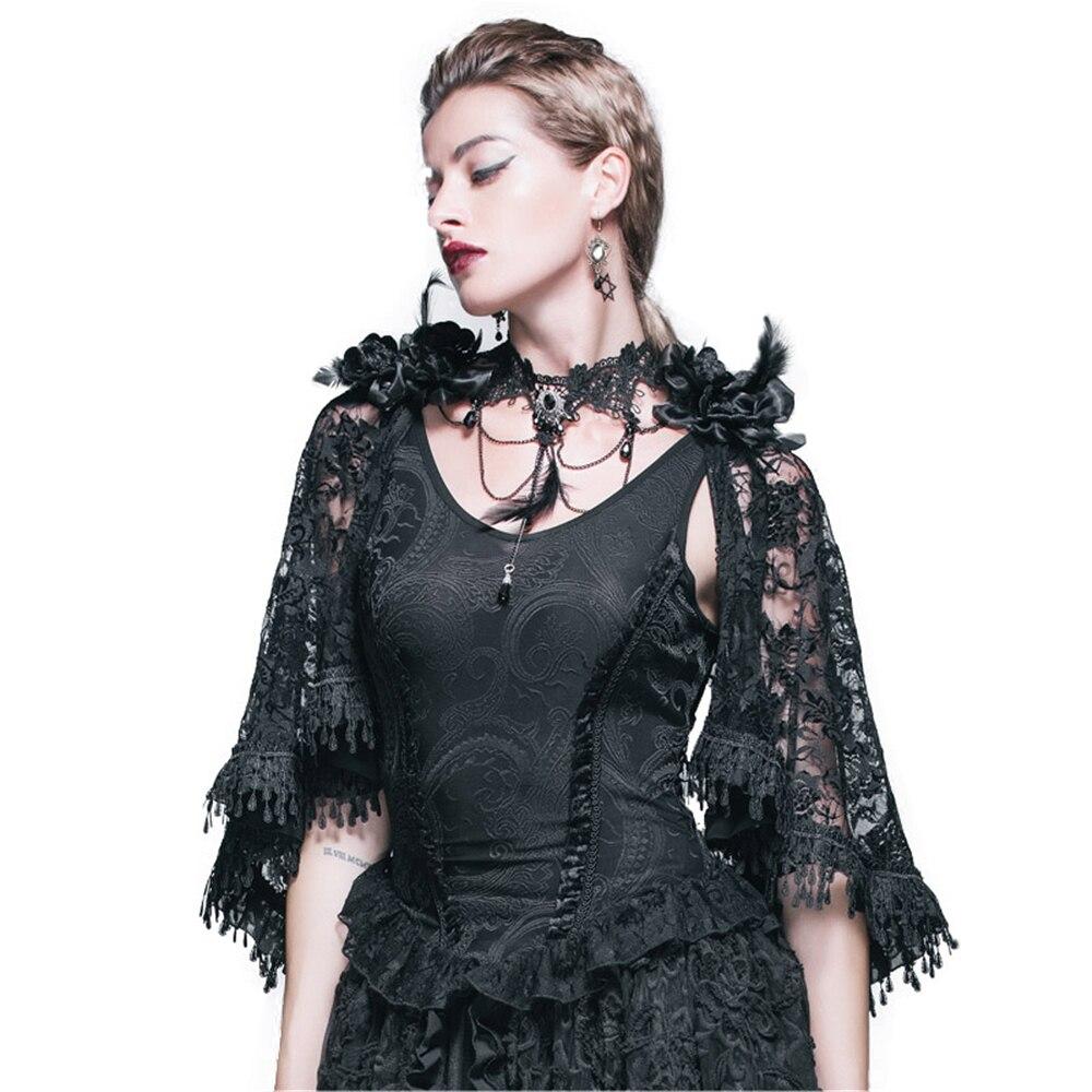 Gothique Jacquard tricot gilet réservoir hauts victorien Punk femmes dentelle Cappa châle hauts été noir gilet et Cape