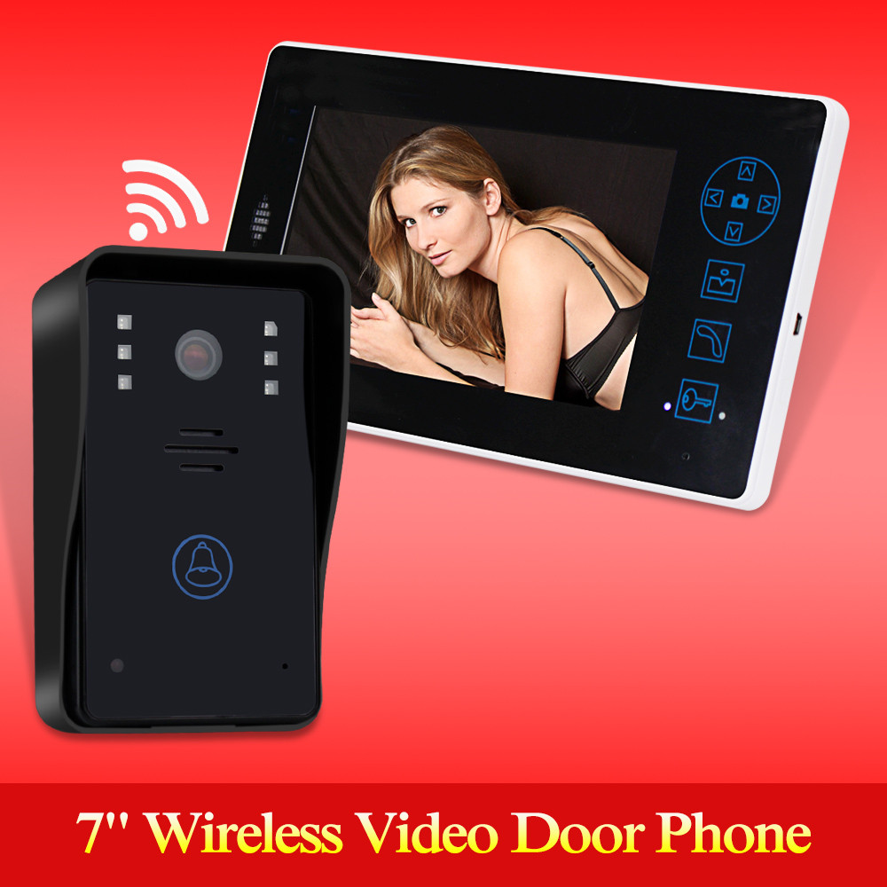 2.4G 7 TFT Wireless Video Door Phone Intercom Doorbell Home Security Camera Monitor color speakerphone for access control