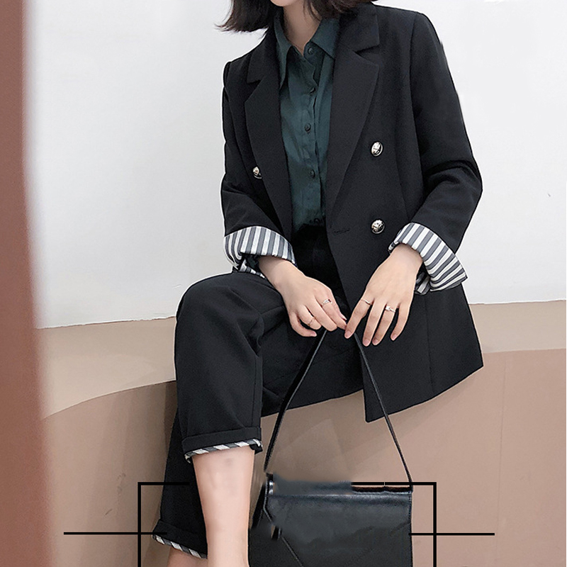 Women's Office Lady Oversized 2 Pieces Sets Solid Black Elegant Double Breasted Turn-down Collar Blazers And Full Length Trouser