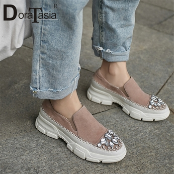 DORATASIA New Fashion High Quality Kid Suede Elastic Band Autumn Flats Woman Shoes Cansual Comfortable Crystal Shoes Woman Flats